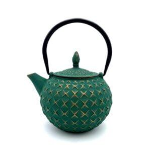 Théière en fonte de Chine Kaisa - Verte & dorée - Contenance 0,8L