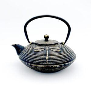Théière en fonte de Chine Tombo - Noir et dorée - Contenance 0,8L
