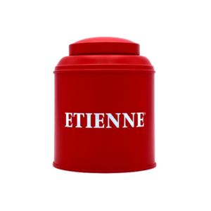 Boîte à thé ETIENNE en métal rouge mat